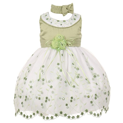 - Baby Girls Sage White Floral Jeweled Easter Flower Girl Bubble Dress 18M