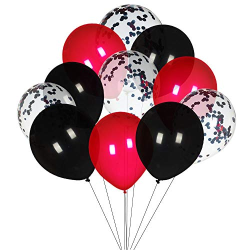 Aimto Black Confetti and Red Balloons Great for for Wedding/Birthday/Baby Shower/Quinceanera/Party Decorations Supplies 3 Style, 12 Inch - Pack of 50]()