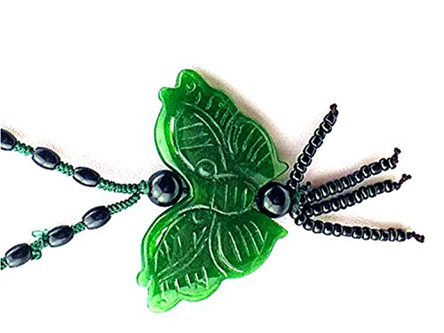 Green Jade Pendant Butterfly With Black Beads Long Necklace ()