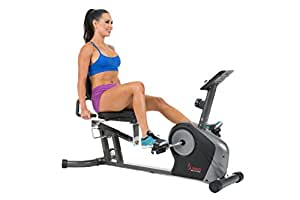 Sunny Health & Fitness Magnetic Recumbent Bike Exercise Bike, 350lbs High Weight Capacity, Monitor, Pulse Rate Monitoring - SF-RB4602