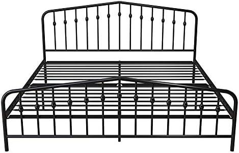 Novogratz Bushwick Metal Bed with Headboard and Footboard | Modern Design | King Size – Black 41tGEeEX 2BhL