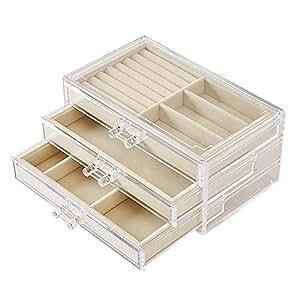 Transparent Jewelry Storage Box Acrylic Material Three-Layer Organizers Earrings Ring Jewelry Display Shelf,Beige