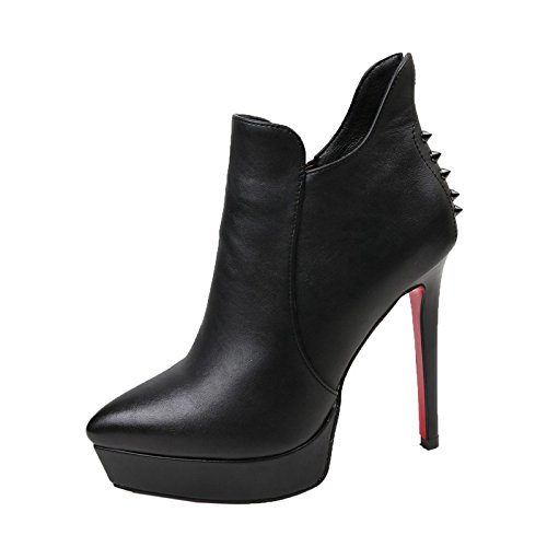 Taiwan High 12Cm Winter Stilettos Black Waterproof Rivet Boots MDRW Pointed Heels wqSFBTT
