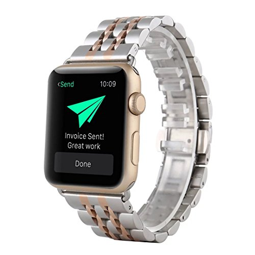 Silver Tone Metal Band (TCSHOW For Apple Watch Band 38mm,38mm Two Tone Silver And Rose Gold Stainless Steel Metal Replacement Classic Band Metal Clasp Classic Buckle for Apple iWatch Sport & Edition 38mm)