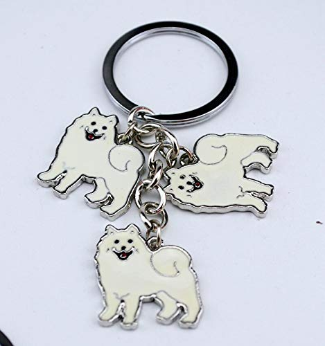(Key Chains - Samoyed Animal Keychains Dogs Keychain Silver Pendant Charm Handmade Gifts for Pet Lovers Dog Jewelry Woman Key Ring Holder - by NTNH12-1 PCs)