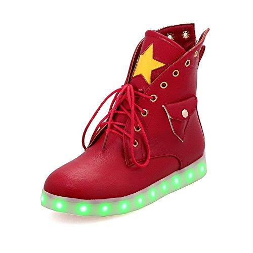 AgooLar Damen Niedriger Absatz PU Gemischte Farbe Schnüren Rund Zehe Stiefel, Rot, 37