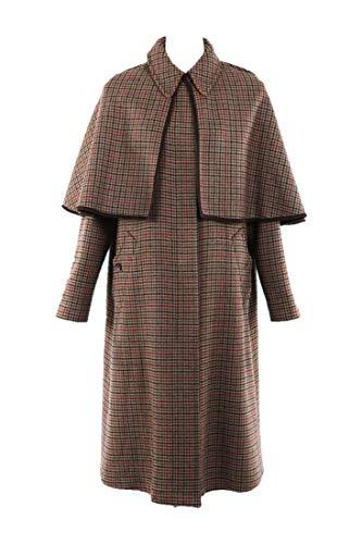 ETRO Brown Houndstooth Wool Cape Coat SZ 44