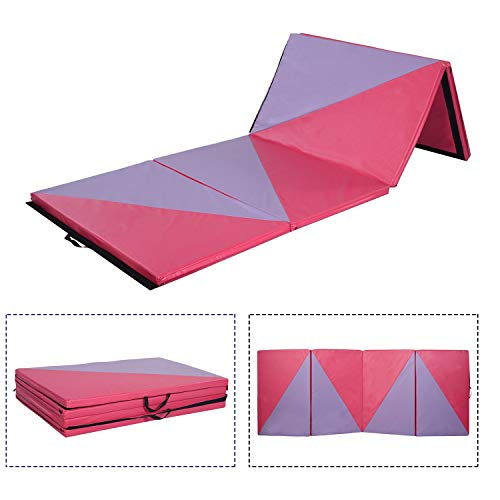 Doitpower 4'x10'x2″ Thick Foldable Gymnastics Yoga Mats for Excise Fitness Pink and Purple Splicing