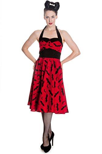Kleid BAT Jahr 50, Kleid Gothic rot, Pin Up mit der Glatze Maus schwarzen Schwarz - Schwarz