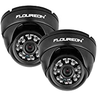 Floureon 1200TVL Vandalproof CCTV DVR Security Camera NTSC Waterproof Night Vision Dome Camera (Two Pacs)