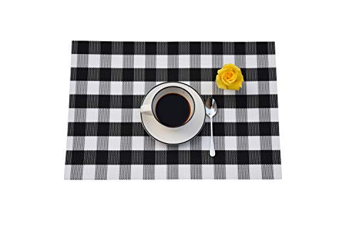 (Qanahome Placemat, Buffalo Check Plaid Crossweave Woven Vinyl Anti-Skid Insulation Heat-Resistant Placemat Washable PVC Table Mats Set of 4)