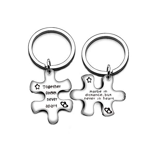 2pcs Puzzle Valentine Stainless Steel Key Chain Jewelry Set Key Holder - Together Forever Never Apart ()