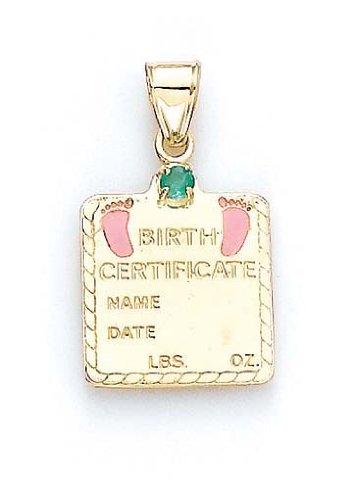 "14 carats-Émeraude-Bébé Fille - 1 certificat de naissance, 1/16 ""- JewelryWeb"