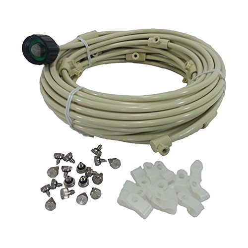 Patio Misting Kit - Pre- Assembled Misting System - Cools temperatures by up to 30 degrees - Brass/Stainless Steel Misting Nozzles - For Patio, Pool and Play areas (84ft - 24 Nozzles)
