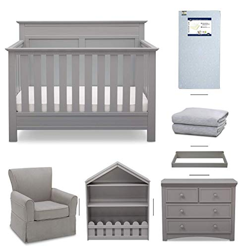 (Crib Furniture - 7 Piece Nursery Set with Crib Mattress, Convertible Crib, Dresser, Bookcase, Glider Chair, Changing Top, Crib Sheets, Serta Fall River - Gray/Dove Gray )