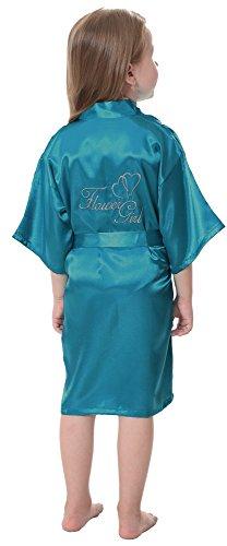 JOYTTON Girl's Satin Kimono Robe With Embroidered Flower Girl(4,Lake Blue) ()