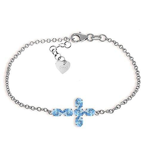 Blue Topaz Designer Cross (ALARRI 1.7 Carat 14K Solid White Gold Cross Bracelet Natural Blue Topaz Size 7 Inch Length)