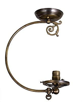 Meyda Tiffany Custom Lighting 101563 Gas Reproduction Semi-Flush Mount Antique Brass Finish