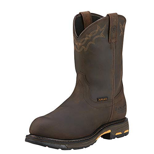 Ariat Men's Workhog Pull-on H2O Composite Toe Work Boot, Oily Distressed Brown, 11 2E US ()
