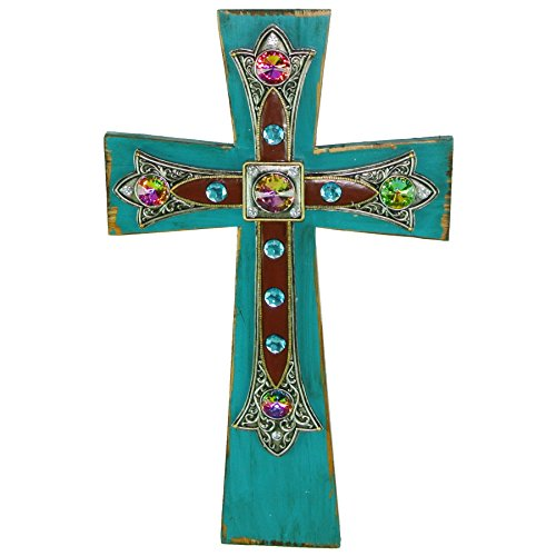 Wood Cross in Layered Cross with Stones in Turquoise Accent