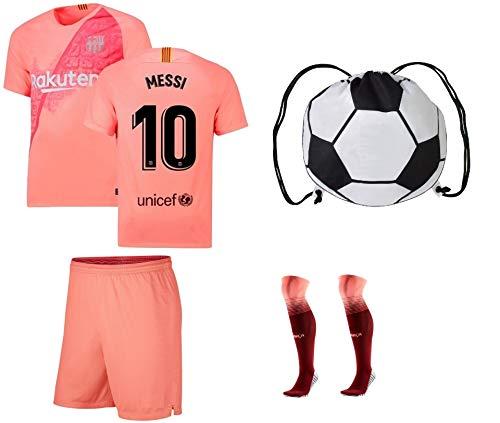 23b574e3909 JerzeHero Barcelona Messi #10 / Neymar Jr #11 Youth Kids Soccer Jersey 4 in  1 Gift Set ✓ Soccer Jersey ✓ Shorts ✓ Socks ✓ Drawstring Bag ✓ Home or Away  ...