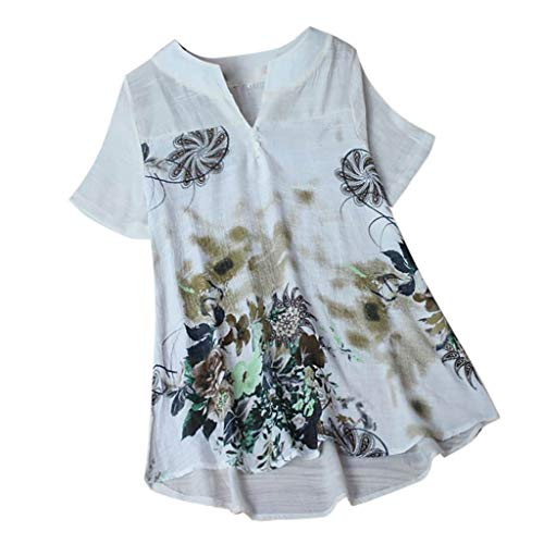 Willow S Womens Fashion Elegant Button Casual Plus Size Linen Tops Shirt Vintage Floral Loose Blouse
