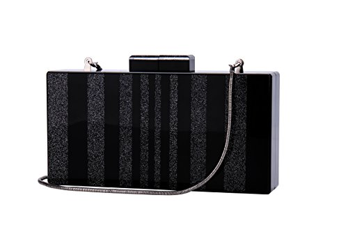 Sequins Black Acrylic Purse Bag Bling Box Clutch for Women Evening Party ()