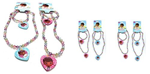 Doc McStuffins Bead Necklace and Bracelet Set with Heart Charm X 4 Set (2 Blue and 2 Pink)]()