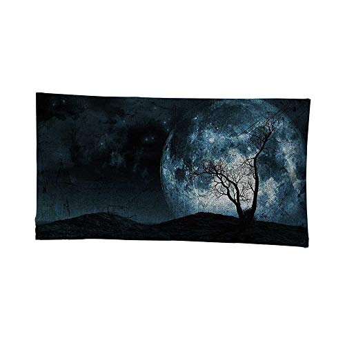 Home Decor (93W x 70L Inch Tapestry Wall Hanging Art Living Room Bedroom Dorm Home DecorFantasy Night Moon Sky Tree Silhouette Gothic Halloween Colors Scary Artsy Background Slate -