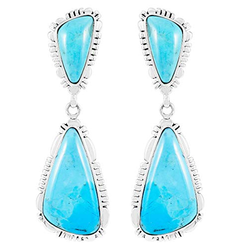 Turquoise Earrings 925 Sterling Silver & Genuine Turquoise (Choose Color)