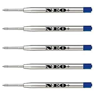 Neo - Recambios de calidad para bolígrafo, 5 piezas medianas de tinta azul. También para bolígrafos Parker