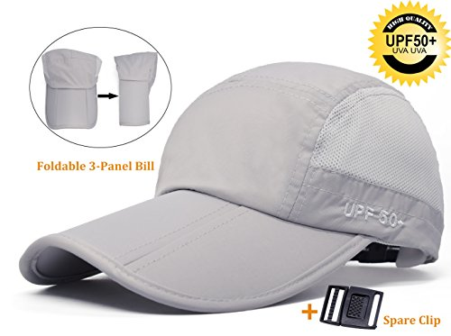 07977fba7 ELLEWIN Baseball Cap Quick Dry Travel Hats UPF50+ Cooling Portable Sun Hats  for Sports Golf Running Fishing Outdoor Research with Foldable Long Large  Bill, ...