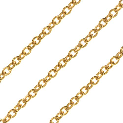 Beads Cable Link Filled Chain - Beadaholique Bulk Cable Chain, Oval Links 1.5x1mm, by The Inch, 14k Gold Filled