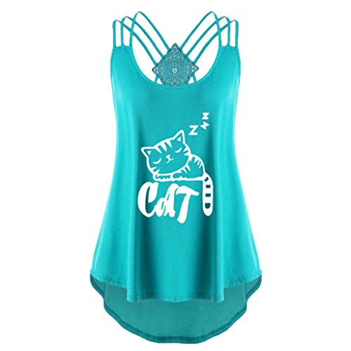〓COOlCCI〓Womens Casual Sleeveless Cute Cat Printed Criss Cross Tank Tops Halter Blouse Tops Vest Camisoles Green