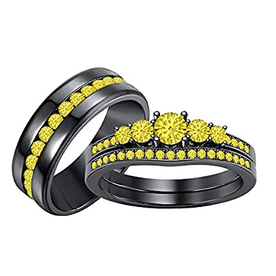 Engagement 5-Stone Round Yellow Sapphire 14K Black Gold Over .925 Sterling Silver Wedding Bridal Trio Ring Set for Men's & Women's