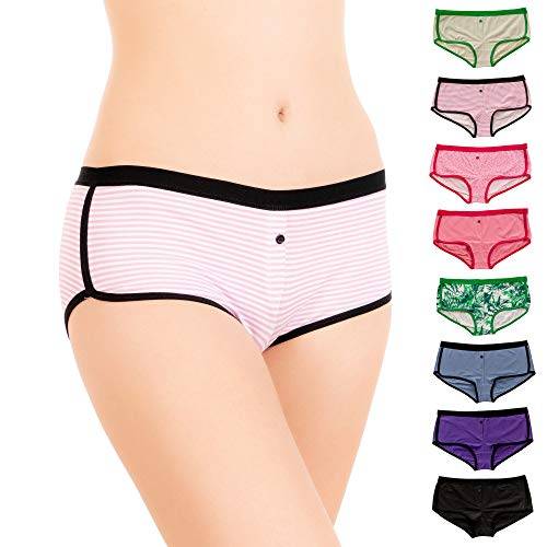 (Alyce Intimates Womens Cotton Boyshort Panty, Assorted, X-Large, Pack of 8)