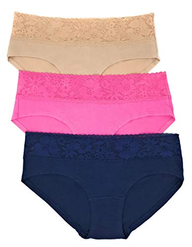 Victoria's Secret Lace Waist Hiphugger Panty Set of 3 Small Nude/Pink/Navy (Hipster Low Waist)