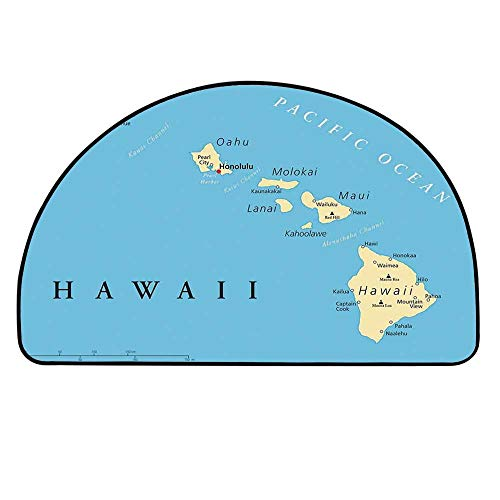 YOLIYANA Hawaiian Decorations Entry Mat Rugs,Map of Hawaii Islands with Capital Honolulu Borders Important Cities and Volcanoes for Front Door,23.6