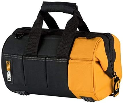 ToughBuilt – 12 Massive Mouth Tool Bag 32 Pockets Loops, Rigid Plastic Hard Body Lining, Wide Mouth Tool Storage Organizer Box, Plastic-lined External Pockets, Lock Zipper – TB-60-12