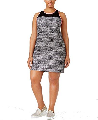 Material Girl Womens Plus Space Dye Mesh Yoke Dress B/W ()