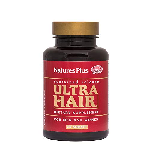NaturesPlus Ultra Hair, Sustained Release - 60 Vegetarian Tablets - Natural Hair Growth Supplement for Men & Women - Longer, Thicker Hair - Gluten-Free - 30 Servings