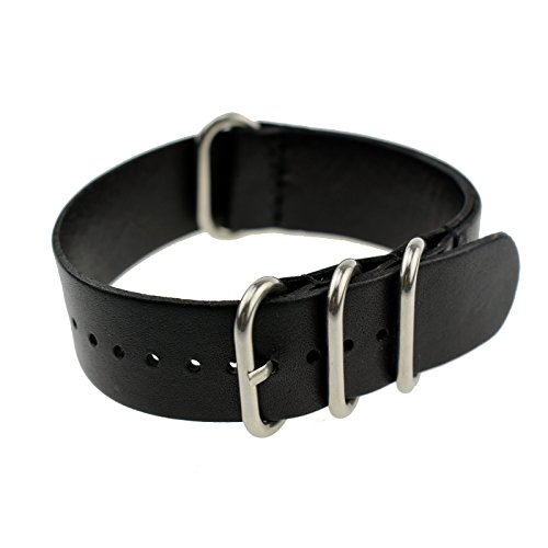 Zeiger Men 22 mm Replacement Interchangeable Leather Watch Band (Black)