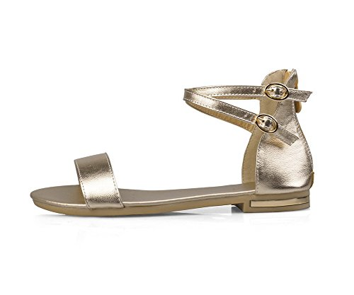Material Toe WeenFashion Soft Sandals Women's Solid Heel Zipper No Open Flats Gold wqwTHfaS1n