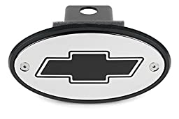 Chevrolet Bowtie Chrome Hitch Receiver Cover - Black Engraved Bowtie