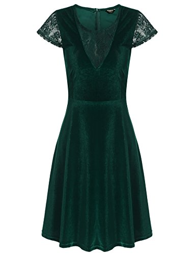 Zeagoo Women's Vintage Cap Sleeve V Neck Stretch Velvet Cocktail Party Dress