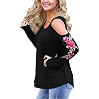 Women's Crewneck Cold Shoulder Floral Embroidered Long Sleeve Loose Fit T-Shirt Blouse Tops