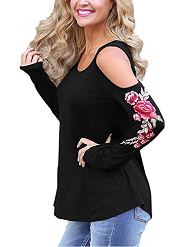 Neck Flower Embroidered Top - 2
