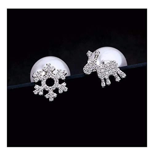 Kin Women's Earrings Asymmetric 925 Silver Needle Elk Snowflake Shape Stud Earrings Women's Jewelry (Color : A)
