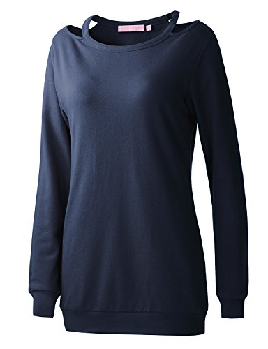 REGNA X Boho for womens activewear solid long shirts navy medium cutout neck pullover sweatshirts (Solid Boatneck)