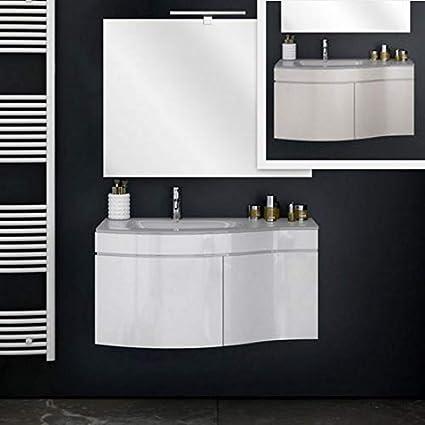 Mobile Arredo Bagno Asia 80 cm Mobile sospeso con lavabo Cristallo Bianco o  Tortora e Specchio Mobili I